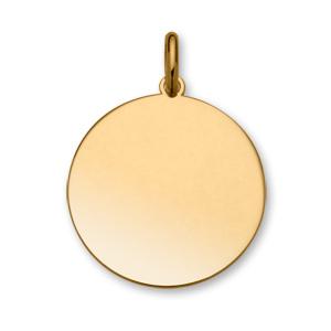 Pendentif en plaqué or médaille à graver très grand modèle diamètre 30mm - plaque fine - Vue 1