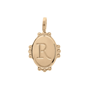 Pendentif en plaqué or médaille ovale 14mm perlée \