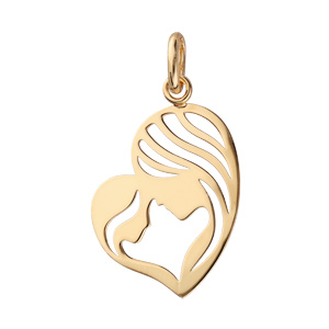 Pendentif en plaqué or médaillon cœur mère et l\'enfant tête a tête - Vue 1