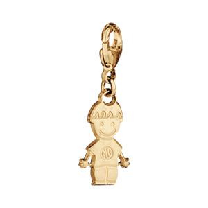 Pendentif en plaqué or petit garçon sur mousqueton - Vue 1
