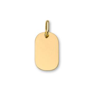 Pendentif en plaqué or plaque G.I. arrondie à graver - dimensions 16mm X 23mm - plaque fine - Vue 1