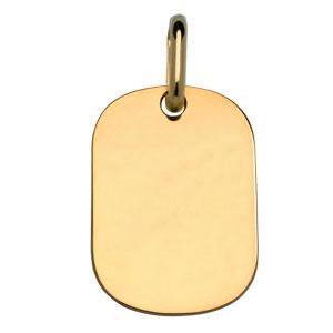 Pendentif en plaqué or plaque G.I. arrondie à graver - dimensions 18m X 25,7mm - plaque fine - Vue 1