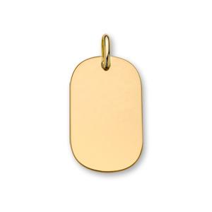 Pendentif en plaqué or plaque G.I. arrondie à graver - dimensions 33mm X 21mm - plaque fine - Vue 1