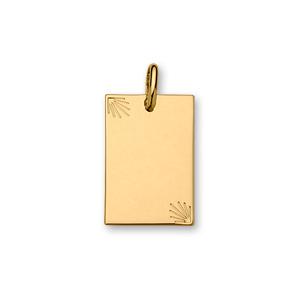 Pendentif en plaqué or plaque G.I. rectangulaire avec diamantage étoilé dans 2 angles - moyen modèle 20mm X 30mm - plaque fine - Vue 1