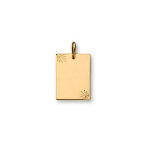 Pendentif en plaqué or plaque G.I. rectangulaire avec diamantage étoilé dans 2 angles - petit modèle 16mm X 21mm - plaque fine - Vue 1