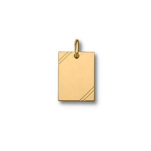 Pendentif en plaqué or plaque G.I. rectangulaire à graver avec striures dans 2 angles - dimensions 30mm X 20mm - plaque fine - Vue 1