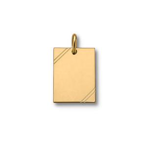 Pendentif en plaqué or plaque G.I. rectangulaire à graver avec striures dans 2 angles - dimensions 38mm X 23mm - plaque fine - Vue 1
