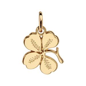 Pendentif en plaqué or à quatre feuilles nervuré - Vue 1