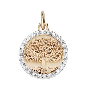 Pendentif en plaqué or rond 16mm arbre de vie contour oxydes blancs sertis - Vue 1