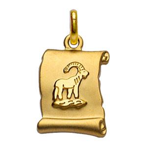Pendentif en plaqué or zodiaque parchemin simple Capricorne - Vue 1