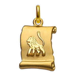 Pendentif en plaqué or zodiaque parchemin simple Lion - Vue 1
