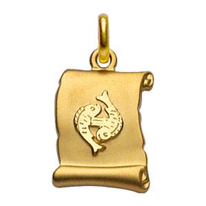 Pendentif en plaqué or zodiaque parchemin simple Poissons - Vue 1
