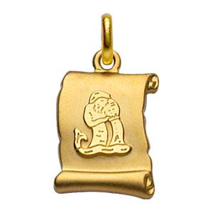 Pendentif en plaqué or zodiaque parchemin simple Verseau - Vue 1