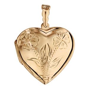 Pendentif en vermeil cassolette coeur avec gravure de fleurs sur le dessus - possibilité d\'insérer 1 ou 2 photos droite et gauche - Vue 1
