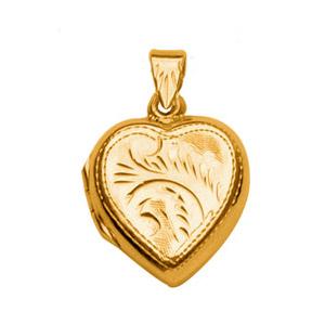 Pendentif en vermeil cassolette coeur ouvragé - possibilité d\'insérer 1 ou 2 photos droite et gauche - Vue 1