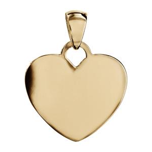 Pendentif en vermeil coeur arrondi à graver grand modèle - plaque prestige - Vue 1