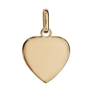 Pendentif en vermeil coeur simple à graver petit modèle - plaque prestige - Vue 1