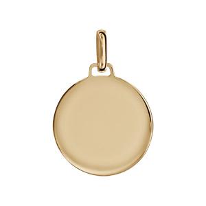 Pendentif en vermeil médaille à graver moyen modèle - plaque prestige - Vue 1
