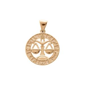 Pendentif en vermeil médaille zodiaque Balance - Vue 1