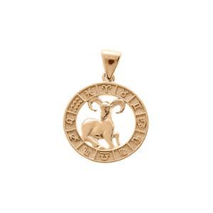 Pendentif en vermeil médaille zodiaque Bélier - Vue 1