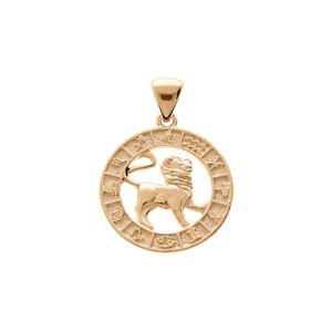 Pendentif en vermeil médaille zodiaque Lion - Vue 1