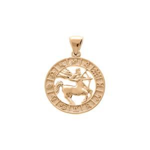 Pendentif en vermeil médaille zodiaque Sagittaire - Vue 1