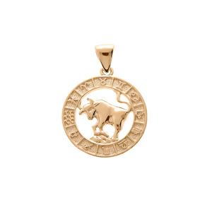 Pendentif en vermeil médaille zodiaque Taureau - Vue 1