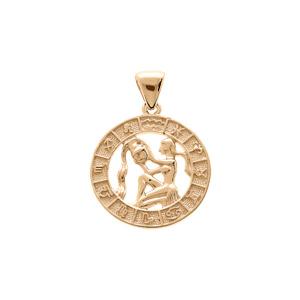 Pendentif en vermeil médaille zodiaque Verseau - Vue 1