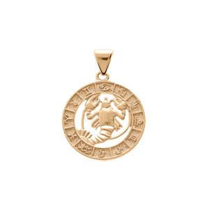 Pendentif en vermeil médaille zodiaqueCancer - Vue 1