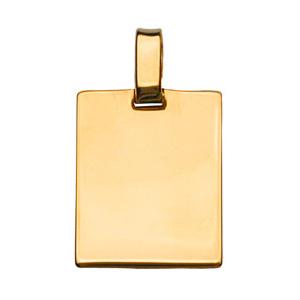 Pendentif en vermeil plaque G.I. rectangulaire à graver - dimensions 29mm X 23mm - plaque prestige - Vue 1