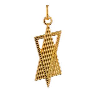 Pendentif étoile de david plaqué or stylisé - Vue 1