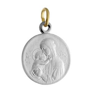 Pendentif médaille acier et or 16mm vierge Botticelli - Vue 1