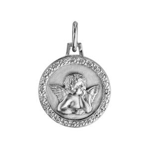 Pendentif médaille en argent rhodié Ange contour oxydes blancs sertis 15mm - Vue 1