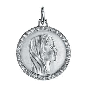 Pendentif médaille en argent rhodié vierge contour oxydes blancs sertis 20mm - Vue 1