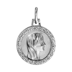 Pendentif médaille en argent rhodié vierge et contour en oxydes blancs sertis 16mm - Vue 1