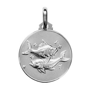 Pendentif médaille en argent rhodié zodiaque Poissons - Vue 1