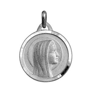 Pendentif médaille en argent vierge Marie en relief et bord brillant - Vue 1