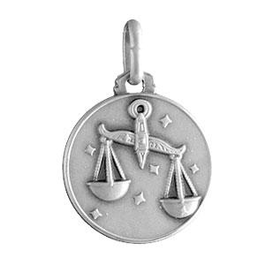 Pendentif médaille en argent zodiaque Balance - Vue 1