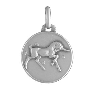 Pendentif médaille en argent zodiaque Capricorne - Vue 1
