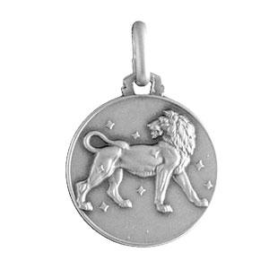Pendentif médaille en argent zodiaque Lion
