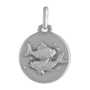 Pendentif médaille en argent zodiaque Poissons - Vue 1