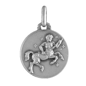 Pendentif médaille en argent zodiaque Sagittaire - Vue 1