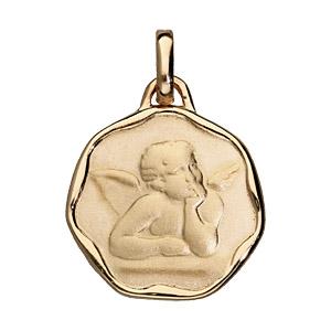 Pendentif médaille en plaqué or avec ange en relief avec bords gondolés - Vue 1