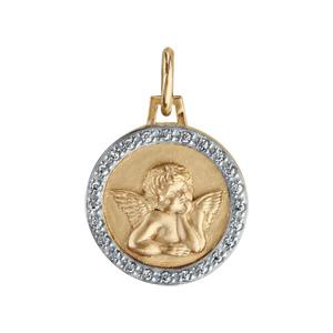 Pendentif médaille en plaqué or avec Ange et contour en oxydes blancs sertis 15mm - Vue 1
