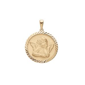 Pendentif médaille en plaqué or avec Ange pourtour diamanté - Vue 1