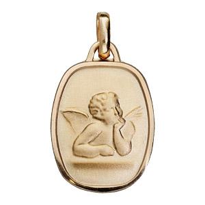 Pendentif médaille en plaqué or rectangle arrondi avec ange en relief - Vue 1