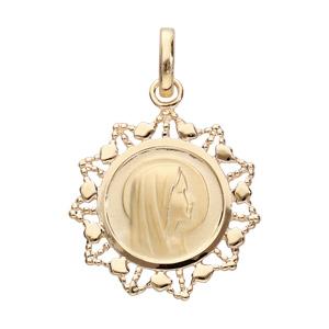 Pendentif médaille en plaqué or Vierge avec contour dentelé - Vue 1