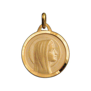 Pendentif médaille en plaqué or vierge Marie en relief et bord brillant - Vue 1