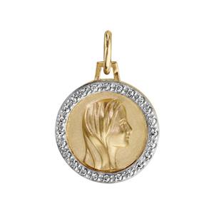 Pendentif médaille plaqué or vierge contour oxydes blancs sertis 16mm - Vue 1