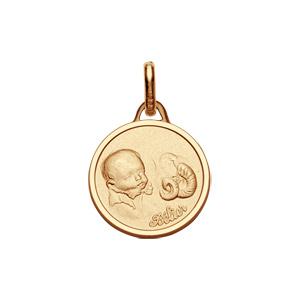 Pendentif médaille pour bébé en plaqué or zodiaque Bélier - Vue 1